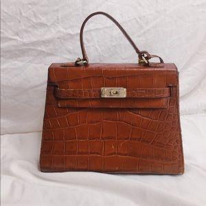 VINTAGE: Lisa Loren Crocodile Satchel - leather